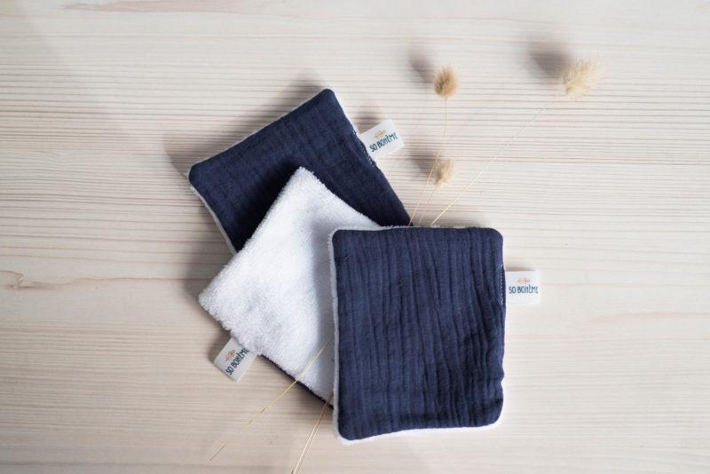 Lingettes lavables blanches et bleues So Bohème Cosmétiques