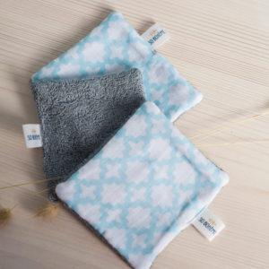 Lingettes lavables blanches et turquoise