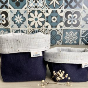 2 paniers réversibles tissu bleu et blanc So Bohème Cosmétiques