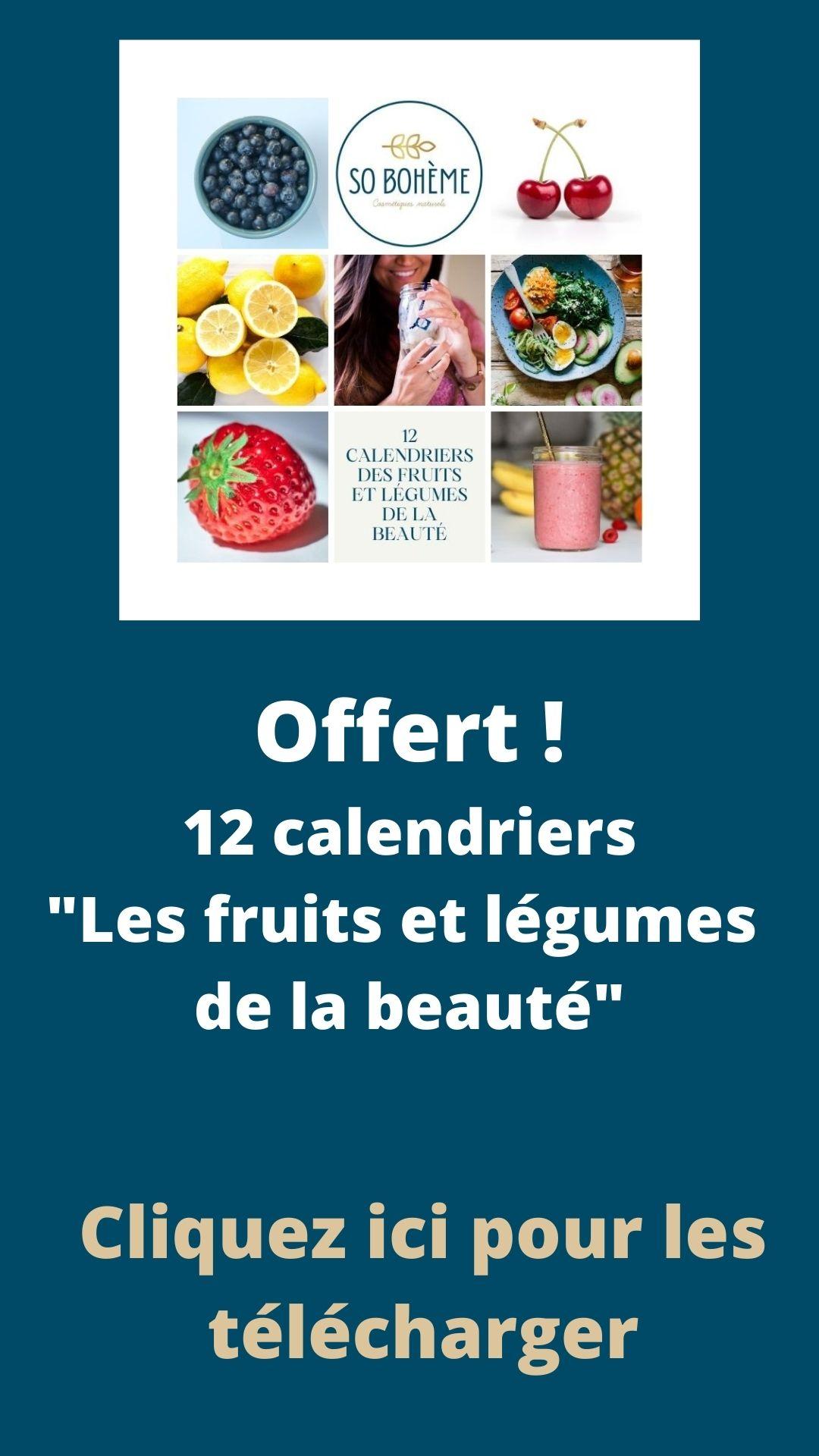 Offert ! 12 calendriers Les fruits et légumes de la beauté
